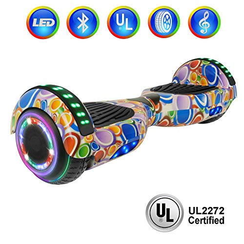 """NHT 6.5"""" Hoverboard Electric Self Balancing Scooter Sidelights - UL2272 Certified Black, Blue, Pink, Red, White (Circle)"""