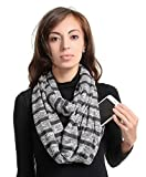 Zipper Travel Pocket Infinity Scarf - Coffee Women Men Convertible Hidded zipper Scarf lightweight Thin Scarves Plain Solid Jersey Security Travel Passport Purse Fashion Scarfs For Spring Winter