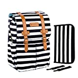 SavvyMami Striped Diaper Bag Backpack for Mom - Bags for Stylish Moms – Large Black and White Striped Backpack Diaper Bag with Changing Pad and Wipes Case and Stroller Straps for Women Baby Bag