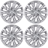 BDK K1037 Silver Hub Caps (Wheel Covers) for Toyota Camry 2012-2013 16' - Four (4) Pieces Corrosion-Free & Sturdy - Full Heat & Impact Resistant Grade - OEM Replacement