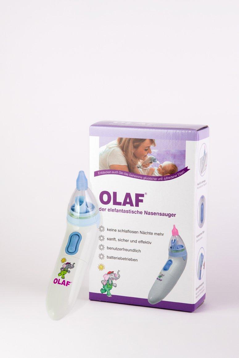 Elektrischer Baby Nasensauger für sanfte Nasen I Mobile Pflege für Baby und Kleinkinder I Ideal für Ihre Erstausstattung I OLAF der elefantastische Nasensauger I Die ausgezeichnete DEUTSCHE MARKE