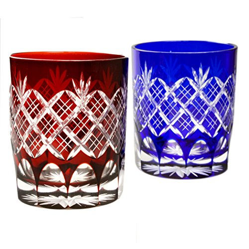 Pair of Red And Blue Double Old Fashioned Glasses 9.4Oz Edo Kiriko Design Cut Glass Kasane Yarai - Pair [Japanese Crafts Sakura]