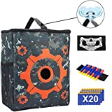POKONBOY Tactical Target for Shooting Pouch Storage Bag Compatible with Nerf Gun Games with 1 Dart Wrist Band, 1 Blaster Face Mask and 1 Hook 20PCS Bullets N-Strike Elite Mega Rival Series