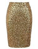 PrettyGuide Women's Sequin Skirt High Waist Sparkle Pencil Skirt Party Cocktail S Gold
