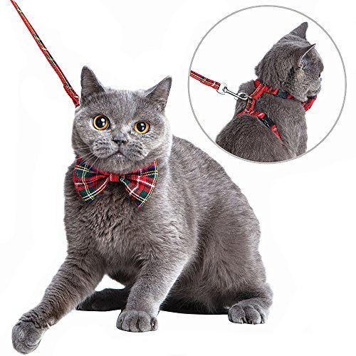 Mihachi Cat Harness Adjustable with Removable Bowtie-for Kitty & Rabbit,Plaid Harness and Leash Set 1