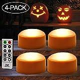 HOME MOST 4-Pack Halloween LED Pumpkin Lights Battery Operated - Orange Pumpkin Lights with Timer and Remote Halloween Decor - Halloween Jack-O-Lantern Decoration Outdoor - Flameless Pumpkin Candles