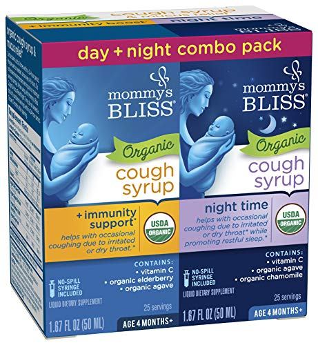 Mommy's Bliss Baby Organic Cough Syrup + Immune Support Day & Night Combo Pack 4 Months+ 3.34 Fluid Ounce