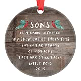 Gift for Son Christmas Ornament 2019 Sons In The Hearts of Mothers Poem Present Idea, Mom from Young or Grown Child Xmas Ceramic Farmhouse Keepsake 3' Flat Circle Porcelain with Red Ribbon & Free Box