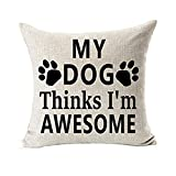 Todaies Best Dog Lover Gifts Cotton Linen Throw Pillow Case Cushion Cover 2018 (45cm45cm, White 2)