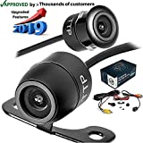TOPTIERPRO Upgraded 2-in-1 Reverse Backup Camera 170° Viewing Angle Multi-Function Car Reversing Front View/Side View/Rear View Camera & Security Pinhole Spy Camera (TTP-C12B)