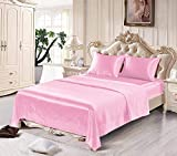 Satin Sheets Queen [4-Piece, Pink] Hotel Luxury Silky Bed Sheets - Extra Soft 1800 Microfiber Sheet Set, Wrinkle, Fade, Stain Resistant - Deep Pocket Fitted Sheet, Flat Sheet, Pillow Cases