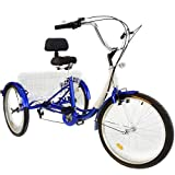 Happybuy 24 Inch Adult Tricycle Series 6/7 Speed 3 Wheel Bike Adult Tricycle Trike Cruise Bike Large Size Basket for Recreation, Shopping,Exercise Men's Women's Bike (Blue/7-Speed)