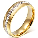 Mens Womens 6mm Titanium Stainless Steel 18k Gold Wedding Ring Channel Set Cubic Zirconia Engagement Band Size 7