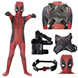 AMOCO Mens Boys Lycra Spandex Superhero Cosplay Costumes with Accessories Halloween Cosplay Zentai Suit for Adults/Kids (Kids-Large(Height:135-145cm), 5 pcs Suit)