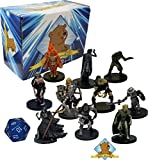 10 Assorted D&D Dungeons and Dragons Miniatures Figures - All Undead Lot! No Duplication! With Random D20! Includes Golden Groundhog Storage Box!