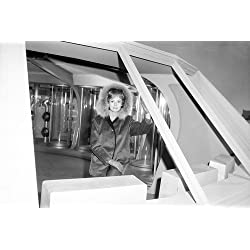 June Lockhart in Lost in Space rare on tv set pose looking out of Jupiter 2 spacecraft window 24x36 Poster