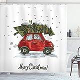 Ambesonne Christmas Shower Curtain, Cloth Fabric Bathroom Decor Set with Hooks, Vintage Tree, 70