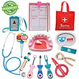 Tresbro Doctor Kits for Kids, Wooden Dentist Tool Toys for Toddlers, Boys & Girls 3 Years Old & Up, Pretend Play Medical Doctor Set with Realistic Stethoscope That Promotes Thinking Skills & Education