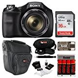 Sony DSC-H300 Digital Camera w/Rechargeable AA Batteries &16GB SDHC Acc Bundle