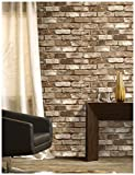 HaokHome 69091 Vinyl Retro Vintage Faux Brick Wallpaper Lt.Brown for Home Kitchen Realistic Wall Decoration Wall Paper 20.8' x 393.7'
