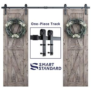 SmartStandard 8FT One-Piece Track Double Sliding Barn Door Hardware Kit – Smoothly and Quietly – Easy to Install…