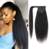 Strap Wrap Around Yaki Ponytail Human Hair Extensions, 100% Unprocessed Brazilian Virgin Hair Ponytails, Magic Paste with Comb Clip in Long Kinky Straight Pony Tail