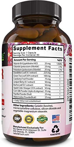 Natural Diuretic Water Away Pills Vitamin B6 Potassium & Dandelion Root Extract Water Retention Anti-Bloating and Swelling Capsules Weight Loss for Women & Men with Antioxidant Green Tea by Bio Sense 5