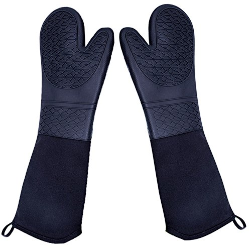 DoMii Extra Long Silicone Oven Mitts Heavy Duty Commercial Grade Oven Mitts Heat Resistant BBQ Gloves with Quilted Cotton Lining 2 Pack