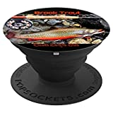 Brook Trout Vintage Fly Fishing Rod Reel Phone Cover Gift - PopSockets Grip and Stand for Phones and Tablets
