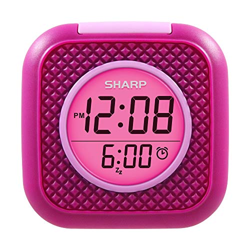 SHARP Pillow Personal Alarm Clock – Wake to Vibration or Beep! - Use on Nightstand or Under Pillow! – Great for Travel or Home Use - Pink