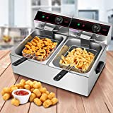 Safstar Professional Electric Deep Fryer, Stainless Steel Chicken Chips Fryer with Basket Scoop for Commercial Restaurant Countertop Family Food Cooking