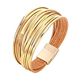 Fesciory Women Multi-Layer Leather Wrap Bracelet Handmade Wristband Braided Rope Cuff Bangle with Magnetic Buckle Jewelry (Short Gold)