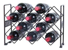 Diamond Shaped Countertop Black Metal Wine Rack