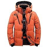 Black Friday Shirts For Men GOVOW Hooded Winter Jacket For Men Zipper Coat Outwear Jacket Top Winter Pullover(US:16/CN:XXXL,Orange)