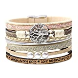 DESIMTION Bracelets for Women, Womens Leather Wrap Bracelet,Boho Multilayer Wide Cuff Handmade Wrist Magnetic Clasp Buckle Casual Bangle Bracelets for Women Friendship Teen Girl Boy Gifts (A-Beige)