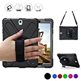 BRAECN Galaxy Tab S2 9.7 Case Full-Body Shockproof Anti-Slip Protective Case with 360 Degrees Rotatable Kickstand/a Hand Strap/a Shoulder Strap for Samsung SM-T810/SM-T815/SM-T813 (Black)