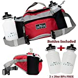 GENIUS EARTH Travel / Hiking Fanny Pack with Water Bottle Holder, Set of 2 BOTTLES INCLUDED. Multipurpose Waterproof Waist Bag and Lumbar Pouch – Fits Women, Men and Kids. Perfect Day Waist Pack.