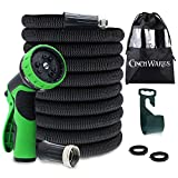 CinchWares Expandable Garden Hose 50 FT, Solid Brass Connectors, Lightweight Collapsible Garden Hose That Will Not Kink, Corrode or Burst with 9 Setting Spray Nozzle and Hose Hanger