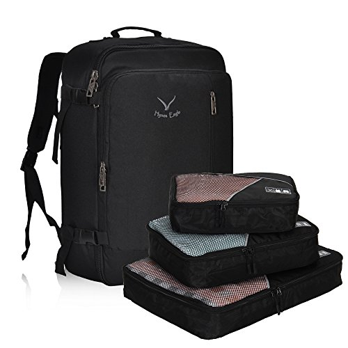 Hynes Eagle 38L Flight Approved Weekender Carry on Backpack, Black with 3PCS Packing Cubes
