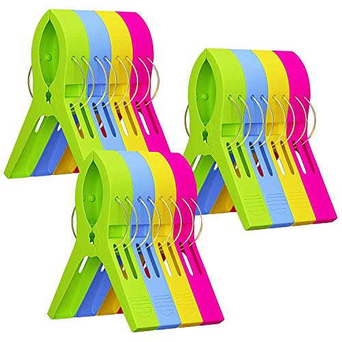 Attmu Beach Towel Clips (12 Pack), Towel Holder in Fun Bright Colors, Keep Towel from Blowing Away