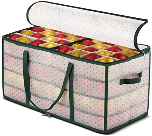 Plastic Christmas Ornament Storage Box Large with 2-Sided Dual-Zipper Closure – Keeps 128 Holiday Ornaments, Xmas Decorations Accessories, 3″ Compartments – Sturdy Flexible Plastic
