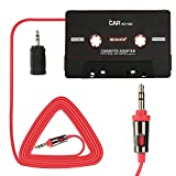BESDATA Car Cassette Adapters for iPod, iPad, iPhone, MP3, Mobil Device, 3 Feet Long Cable 3.5mm Male and 2.5mm Male Adapter, Black