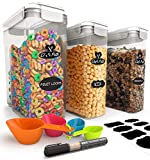 Cereal Container Storage Set - 100% Airtight Food Cereal Storage Containers, 8 Labels, Spoon Set & Pen, Great for Flour & More - BPA-Free Dispenser Keepers (135.2oz) 3PC - Chef's Path