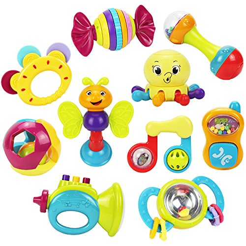 Toys For Newborn : Baby rattles teether ball shaker grab and spin rattle