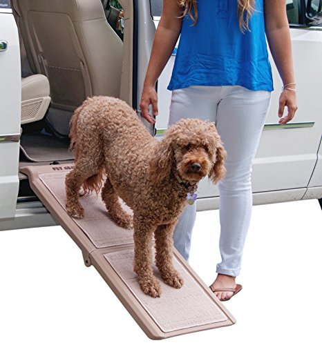 Pet Gear Travel Lite Bi-Fold Ramp for Cats/Dogs, Lightweight/Portable, Safety Tether Included, Rubber Grippers for Stability