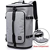 KAKA Travel Duffel Backpack, Gym Backpack Outdoor Travel Bag with Shoe Compartment, Weekender Overnight Convertible Bag Water-Resistant College Laptop Bookbag Hiking Camping Rucksack for Men and Women