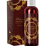 Relaxing Massage Oil - Intense Aromatherapy Oil for Erotic Massages & Sore Muscle Relief - Detoxifying Body Care with Almond Lavender Essential Oil Bergamot & Jojoba - For Him & Her by Honeydew