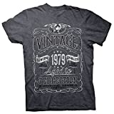 40th Birthday Gift Shirt - Vintage Aged to Perfection 1979 - Dk. Heather-002-XL