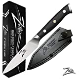 Zelite Infinity Paring Knife 4 Inch - Alpha-Royal German Series - German High Carbon Stainless Steel - Pakkawood Handle, Leather Sheath