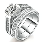 Womens Wedding Engagement Bands Ring Sets 18K White Gold Plated Princess Cut Eternity Solitaire CZ Crystal Best Anniversary Promise Rings Size 7